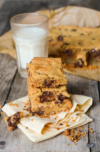 Chocolate Chip Cookie Bars with a Salty Pretzel Crust