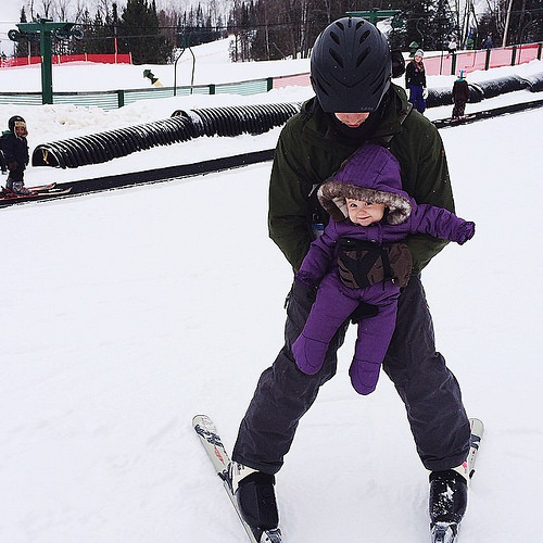 "Helen enjoyed her first time ""skiing."""