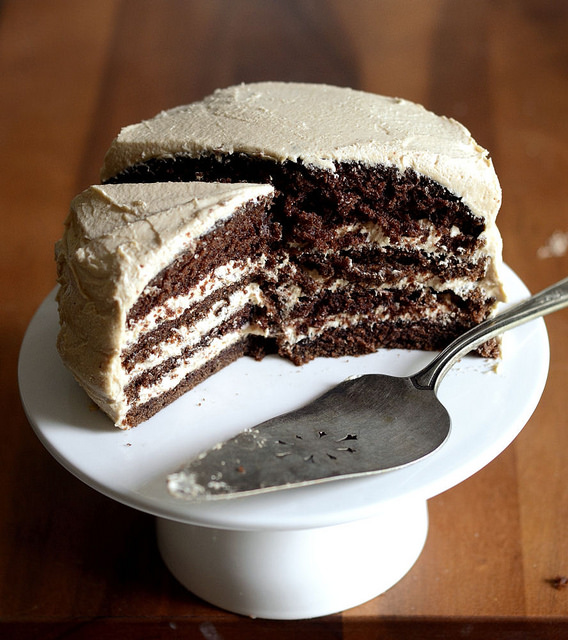 Chocolate Cake with Peanut Butter Frosting | Buttered Side Up