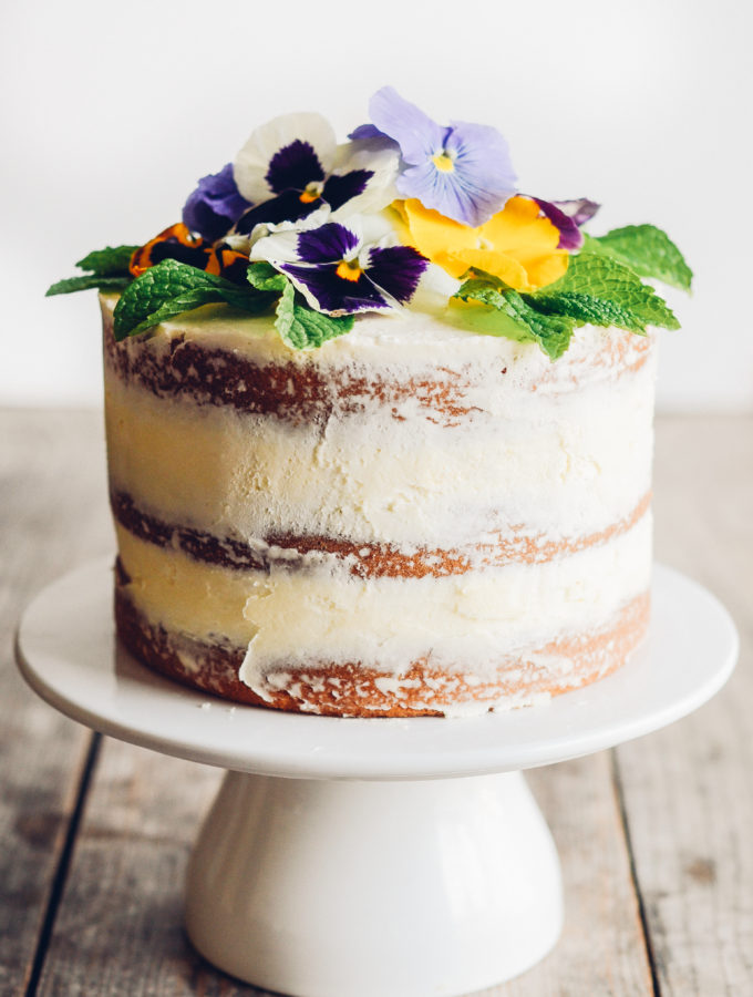 Triple Lemon Naked Layer Cake with Edible Flowers