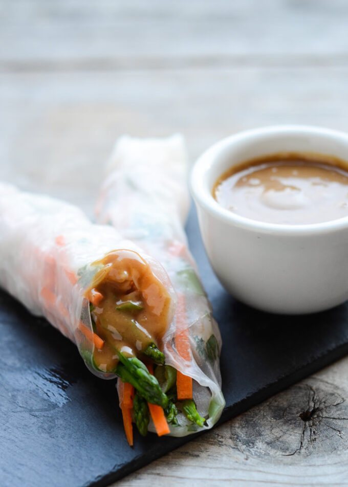 Shrimp Spring Rolls with Sweet and Spicy Peanut Sauce