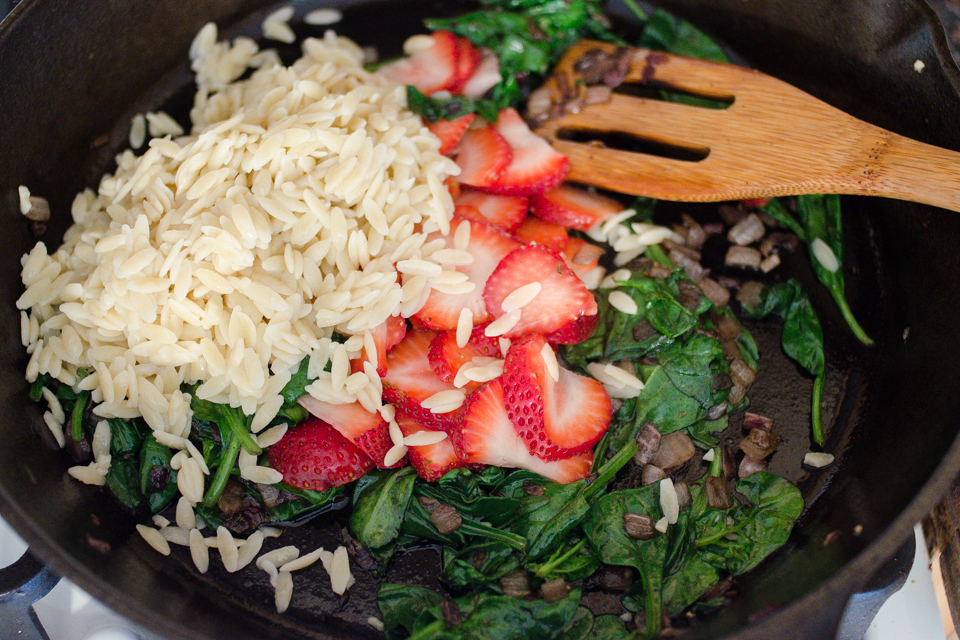 Warm Strawberry Bacon Orzo Salad