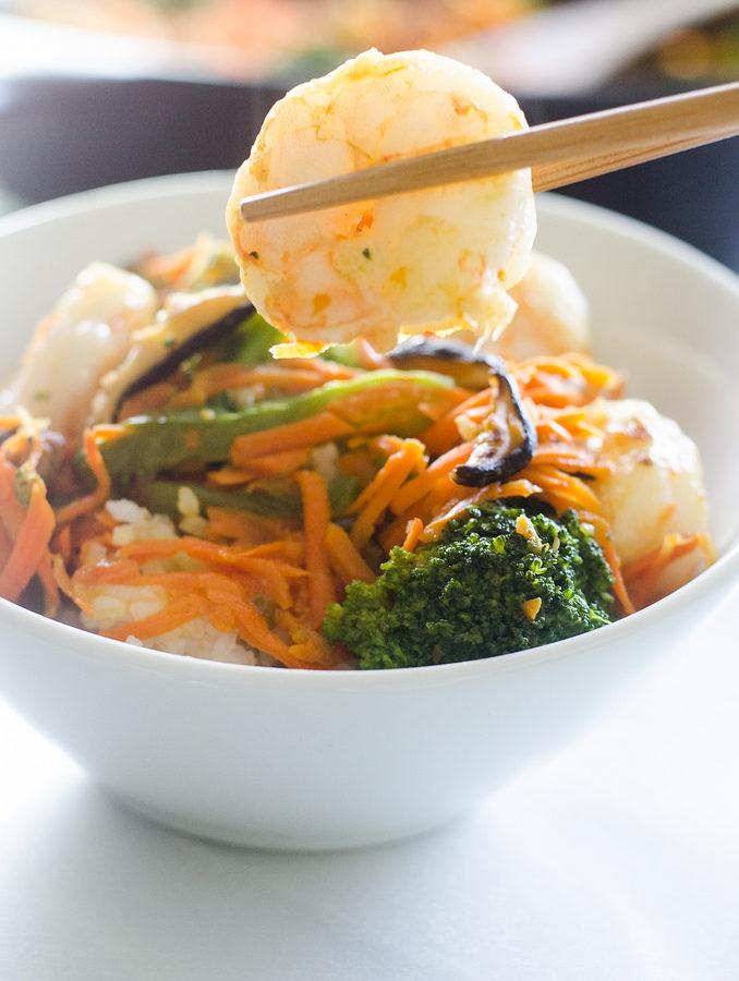 30 Minute Shrimp and Shiitake Stir Fry