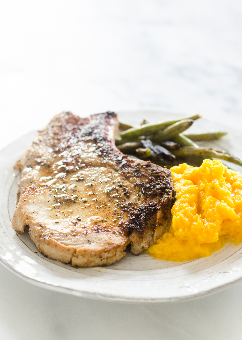 Butcher Box Review Meal 4 - Porkchops + Mashed Butternut Squash + Garlic Green Beans 2