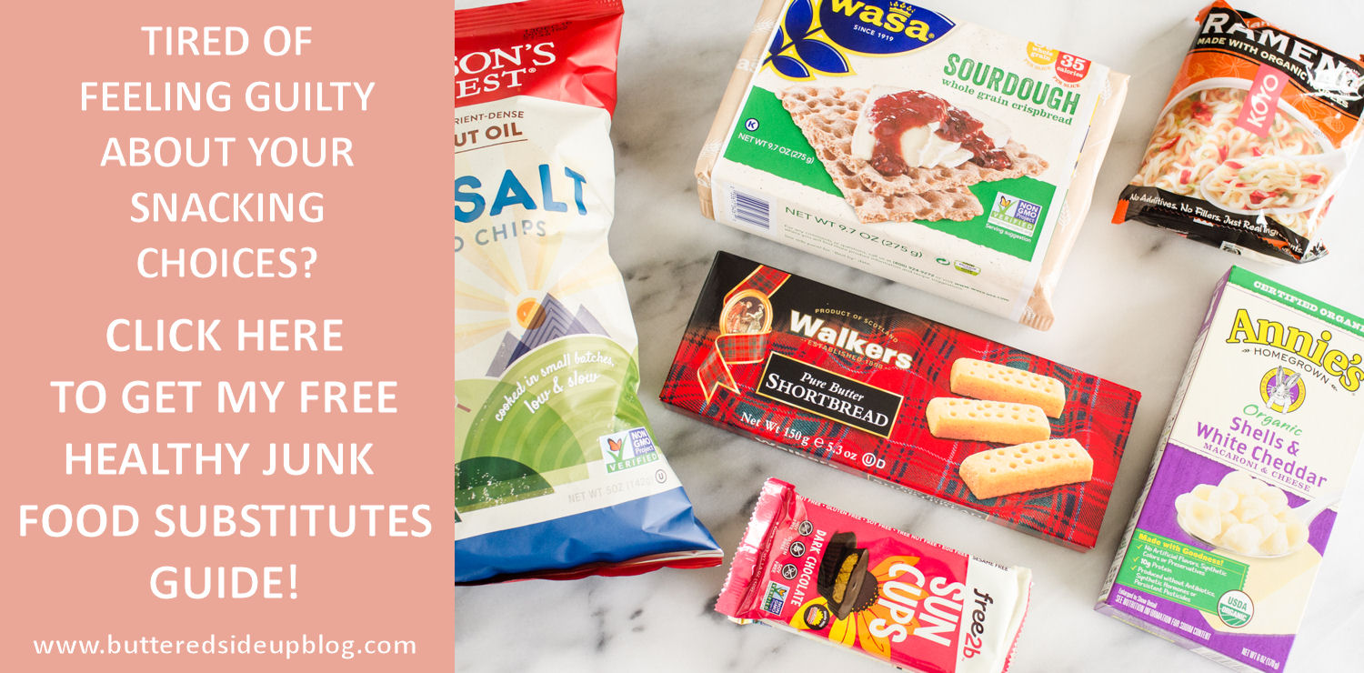 Healthy Junk Food Substitutes. Click to get my FREE Guide to making healthier snacking choices!
