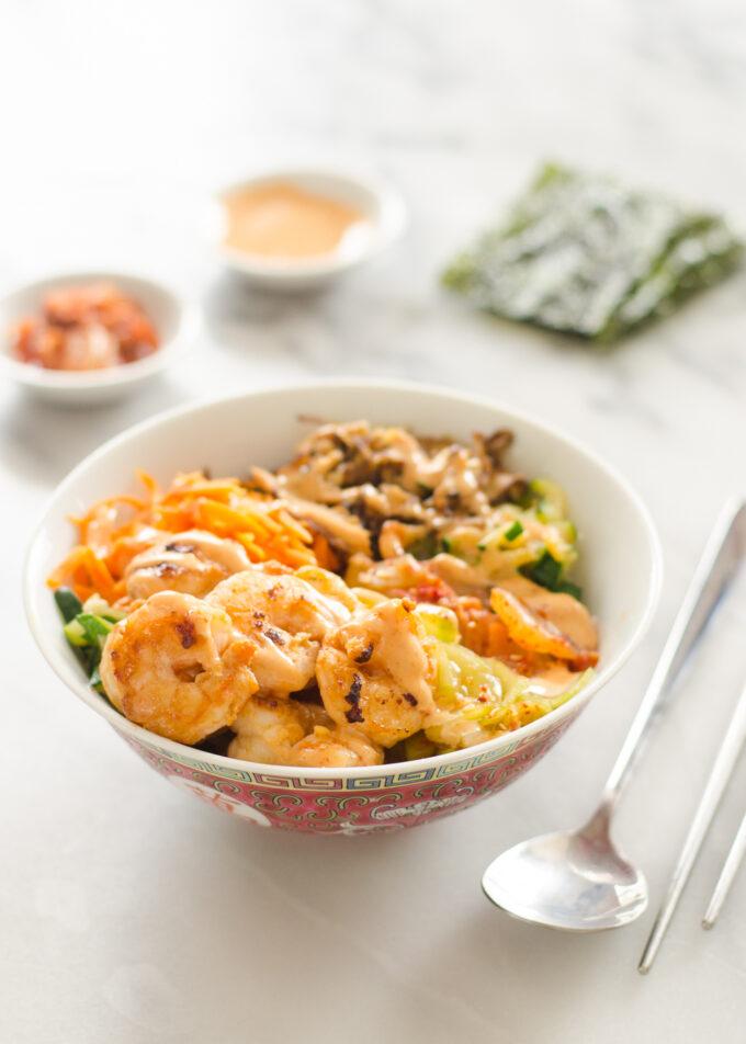 Spicy Korean Shrimp Rice Bowl Recipe