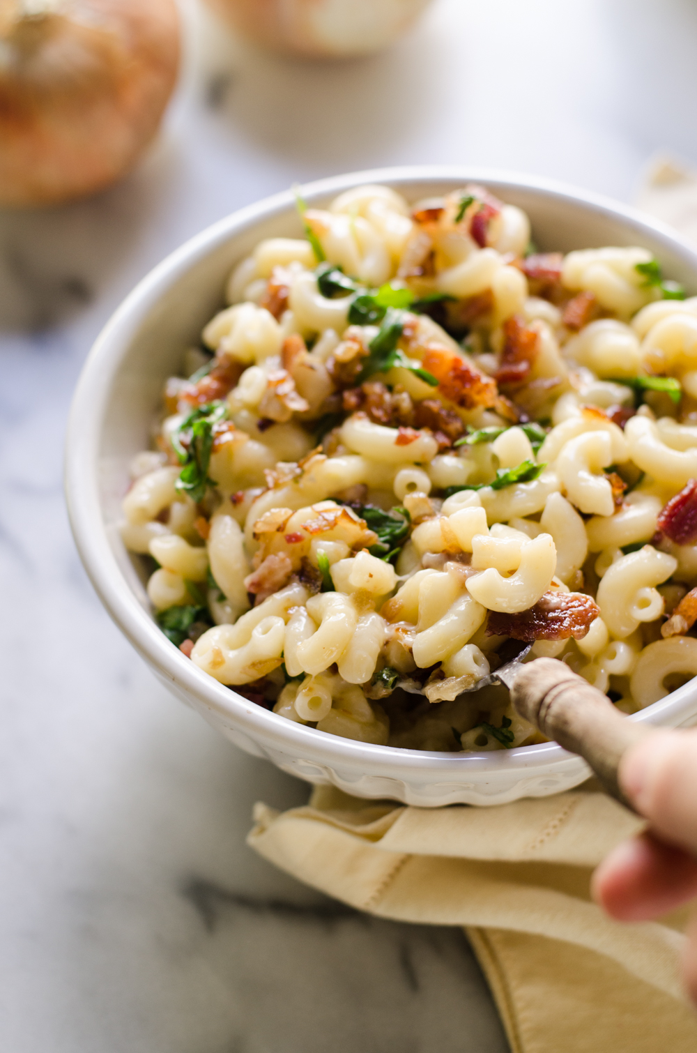 Caramelized Onion, Bacon, and Arugula Mac and Cheese