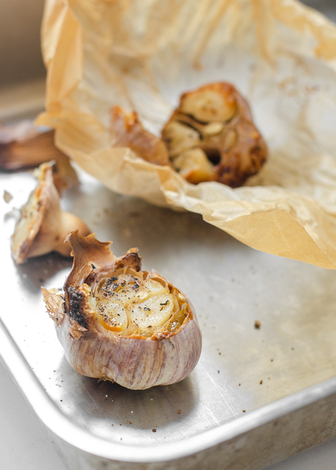 How to roast garlic without aluminum foil.