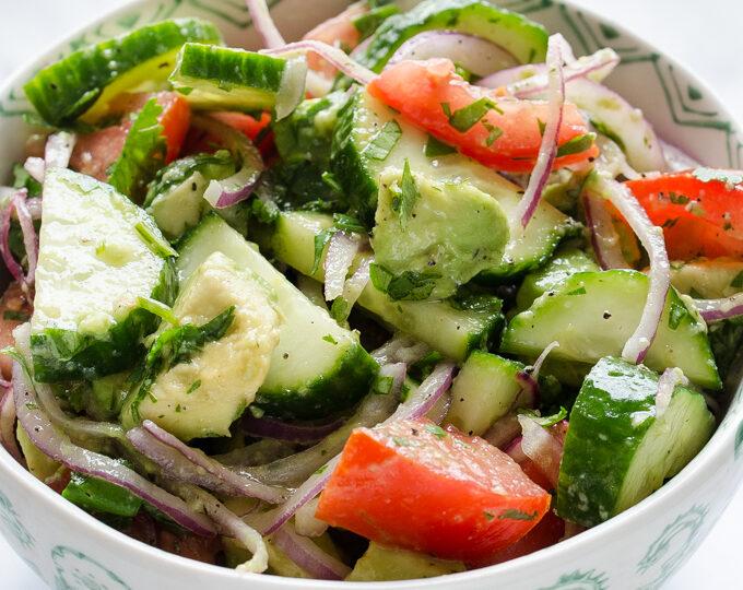 Healthy Avocado, Cucumber, and Tomato Salad