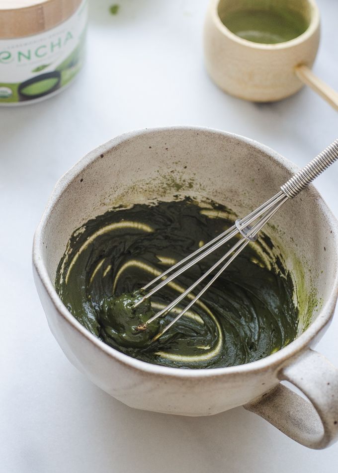 Whisking it together into a paste.