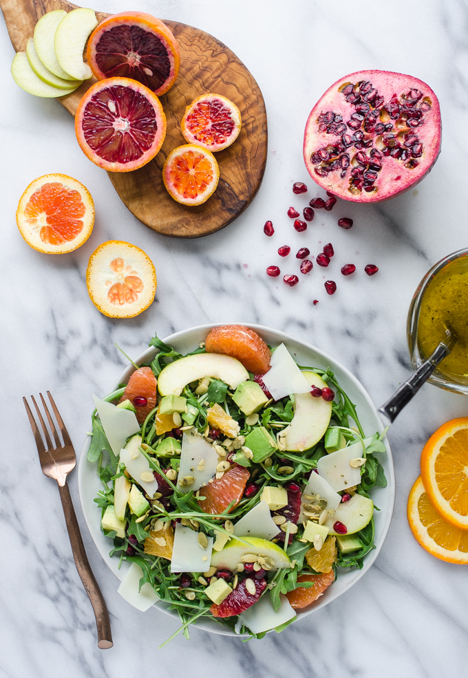 Winter Salad with Arugula, Avocado, Pomegranate, Blood Orange, and Apple
