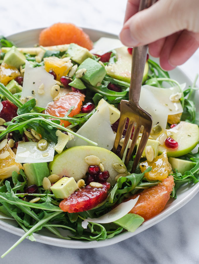 Arugula, Avocado, and Blood Orange Salad with Orange Vinaigrette