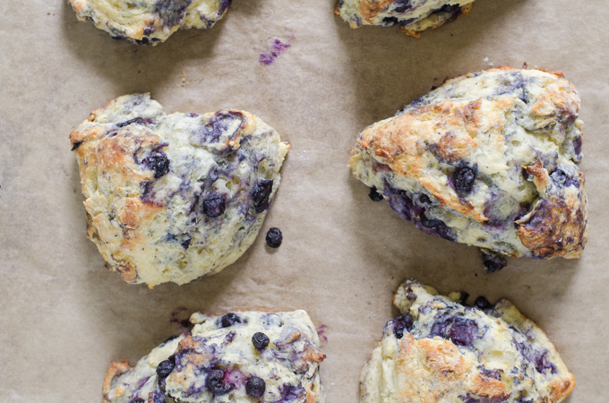 Blueberry scones fresh from the oven on a parchment-lined baking sheet.