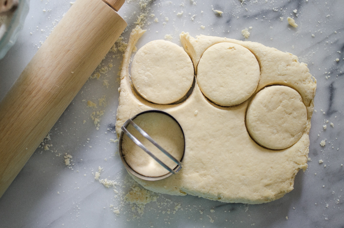 Cutting out the shortcakes.