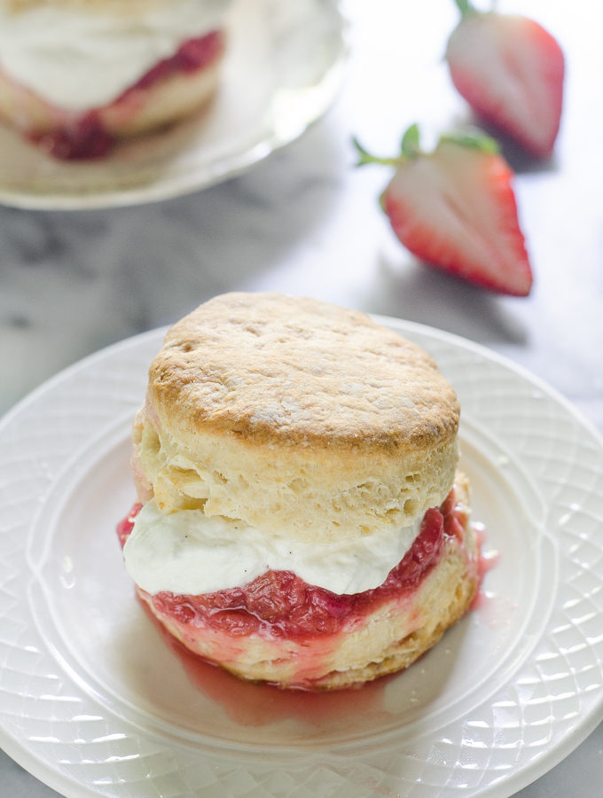 Shortcake Recipe with Sourdough Biscuits and Vanilla Rhubarb Compote
