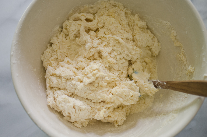 Rough dough in bowl