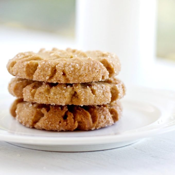 Side view of a stack of peanut butter cookeis