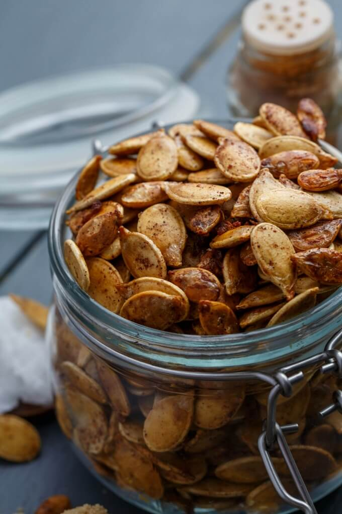 Jar of roasted pumpkin seeds.