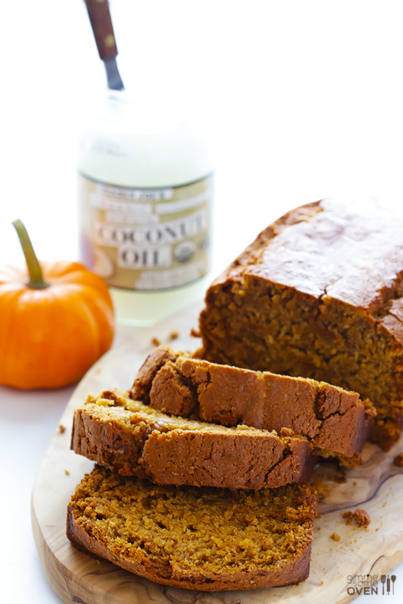 Thick slices of pumpkin bread.