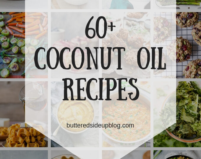 Collage photo of coconut oil recipes.