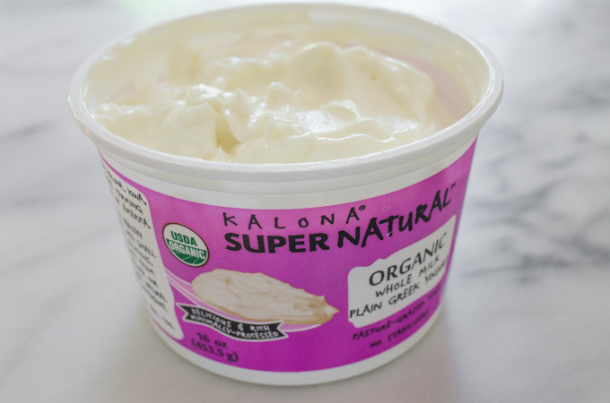 Kalona SuperNatural Greek yogurt in an open container.