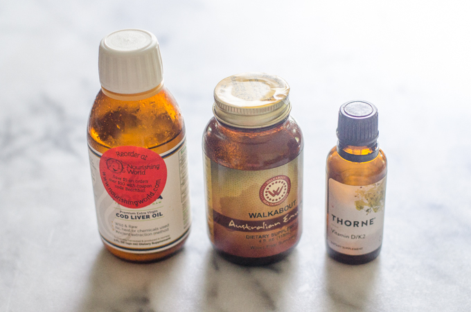 Supplements: Cod liver oil, emu oil, and Vitamin K2/D3 drops.