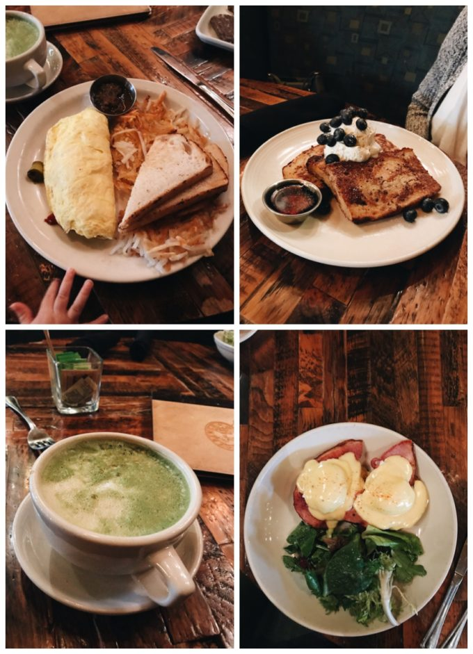 French Meadow Cafe: Omelette of the day, French toast, eggs benedicts, and matcha latte