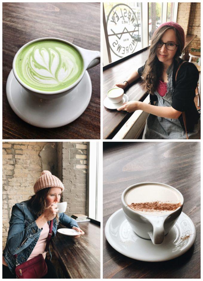 Fun Restaurants in Minneapolis: Wesley Andrews Coffee Shop, Minneapolis MN - Matcha latte and Masala Chai Latte.