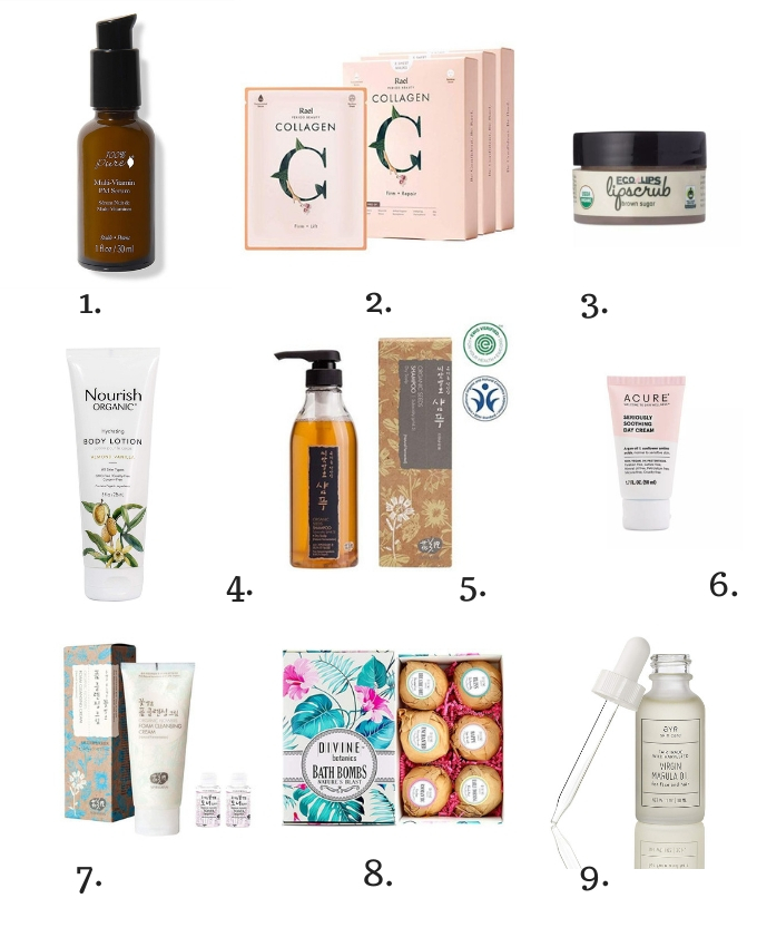Collage of ethical or fair trade gifts for beauty lovers