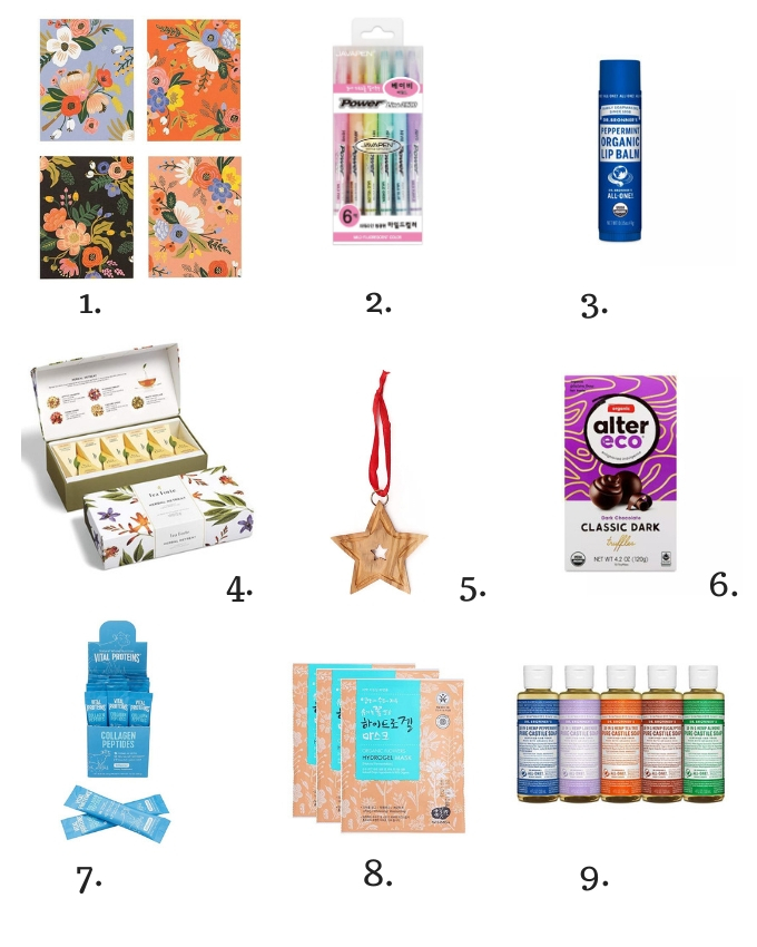 Collage of ethical or fair trade stocking stuffers