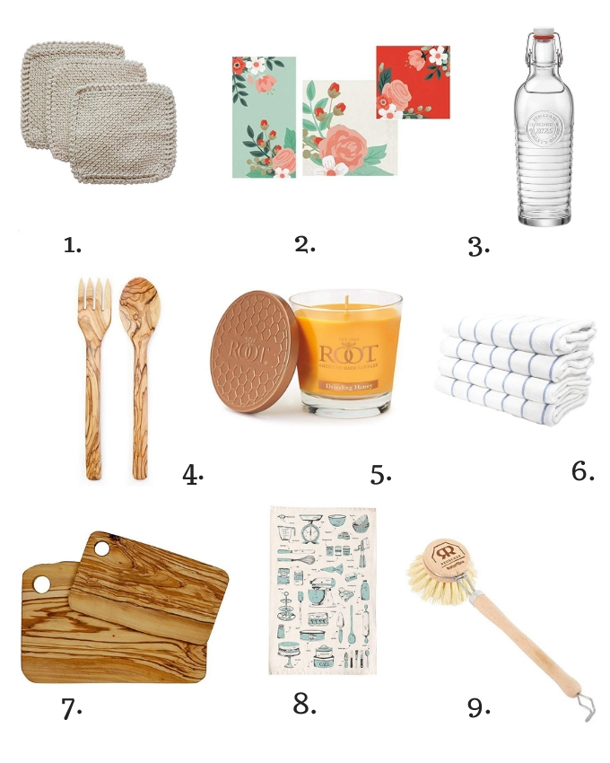 Collage of gift ideas for the hostess