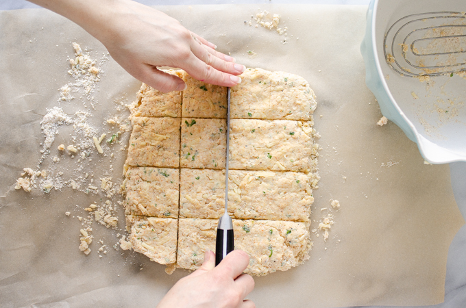 Cutting the dough into squares.