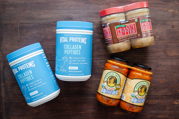 Things to buy at Costco: Vital Proteins collagen peptides, organic peanut butter, and organic pasta sauce.