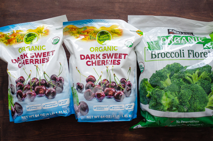 Dark sweet cherries and organic broccoli!