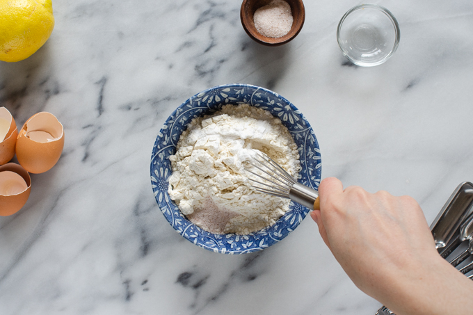 Whisking the dry ingredients together for a sour cream pound cake loaf.