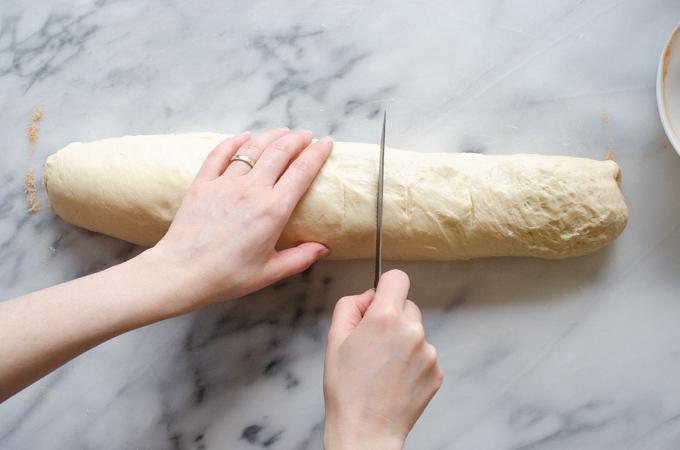 Slicing the rolls.