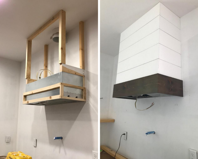 DIY Range Hood Cover with shiplap.