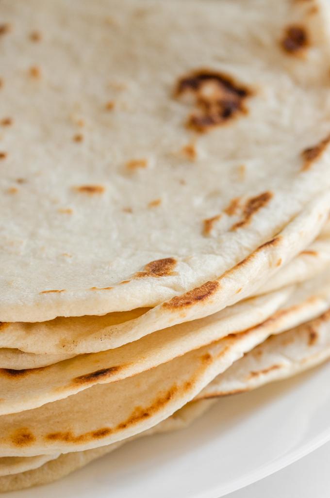 Close up shot of the sourdough tortillas.