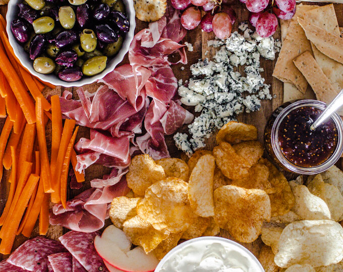An easy snack board with healthy options!
