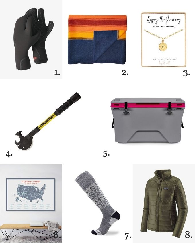A collage of fair trade and ethical gifts for outdoorsy women.