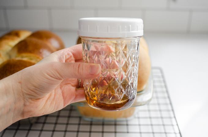 A jar of vanilla simple syrup.