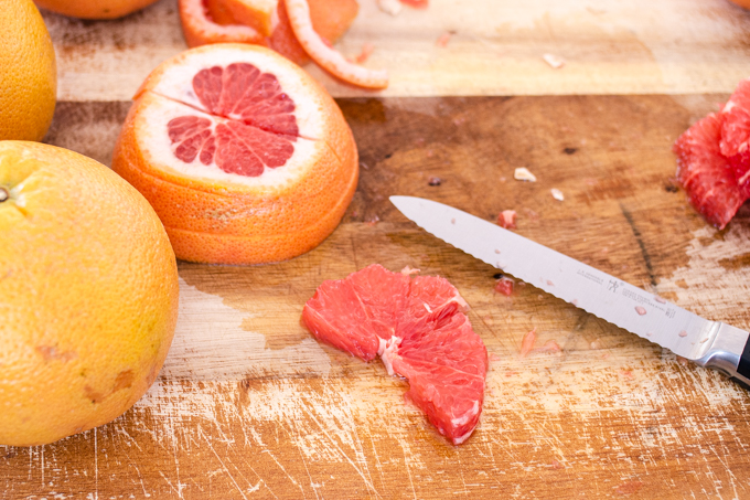 How to cut a grapefruit into a rising sun shape.