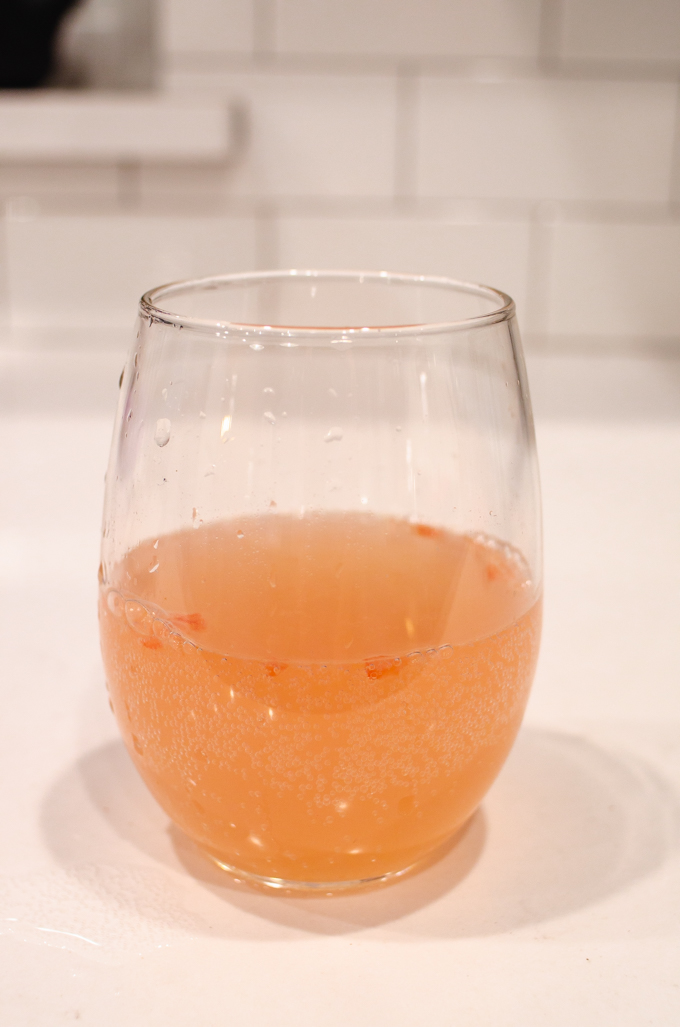 Grapefruit juice + sparkling water.