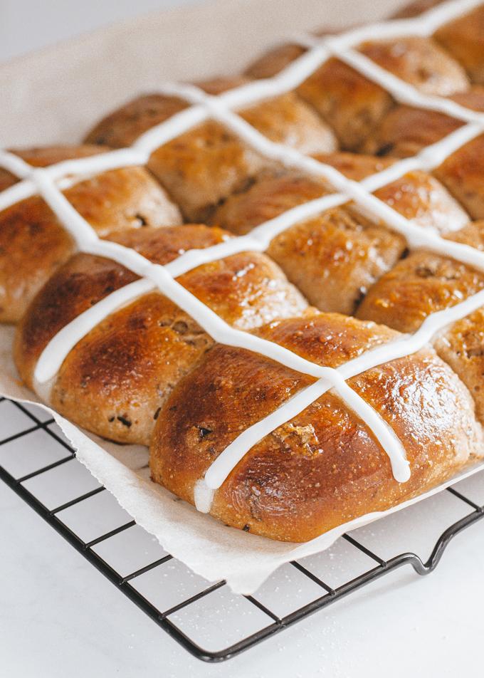 Sourdough Hot Cross Buns with an icing cross.