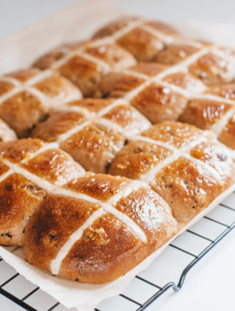 Sourdough hot cross buns with a flour paste cross.