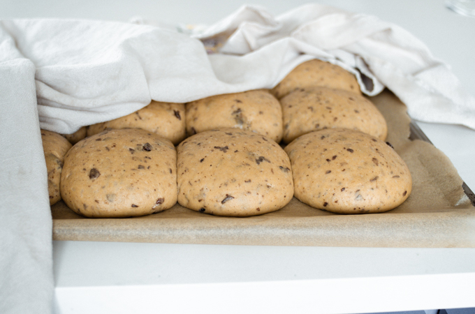 The risen sourdough hot cross buns.