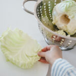 Removing an outer leaf of a head of cabbage.