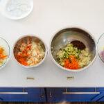 Different types of spicy sauerkraut.