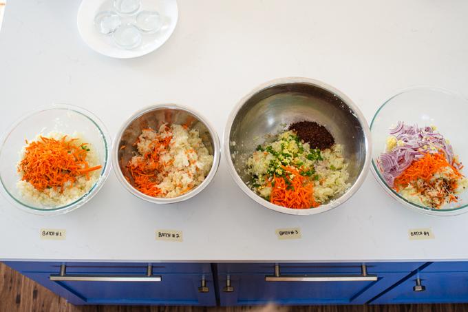 Different flavor profiles for homemade spicy sauerkraut.