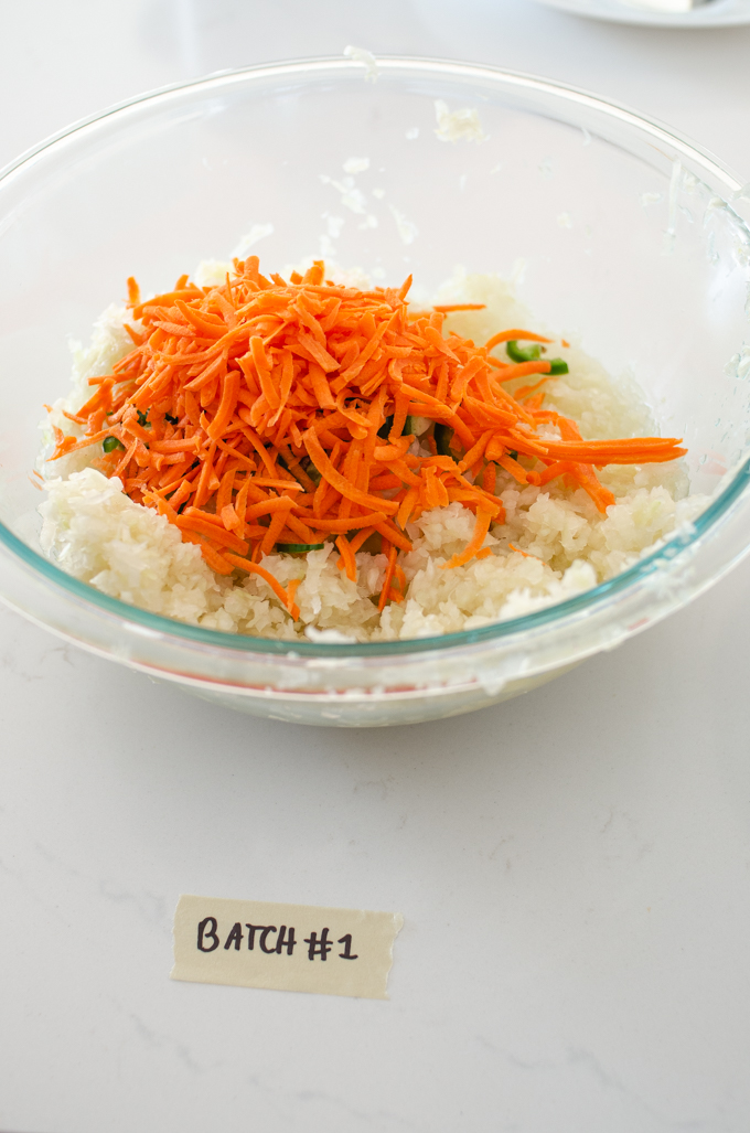 Spicy sauerkraut made with shredded carrots and a jalapeno pepper.